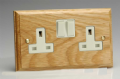 Varilight Kilnwood 2 Gang 13A Switched Socket Oak White Insert XK5OW
